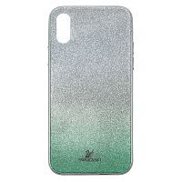 Чехол накладка xCase на iPhone X/XS Swarovski Case green