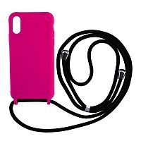 Чехол накладка xCase для iPhone XS Max Silicone Case Crossbody Bag electric pink