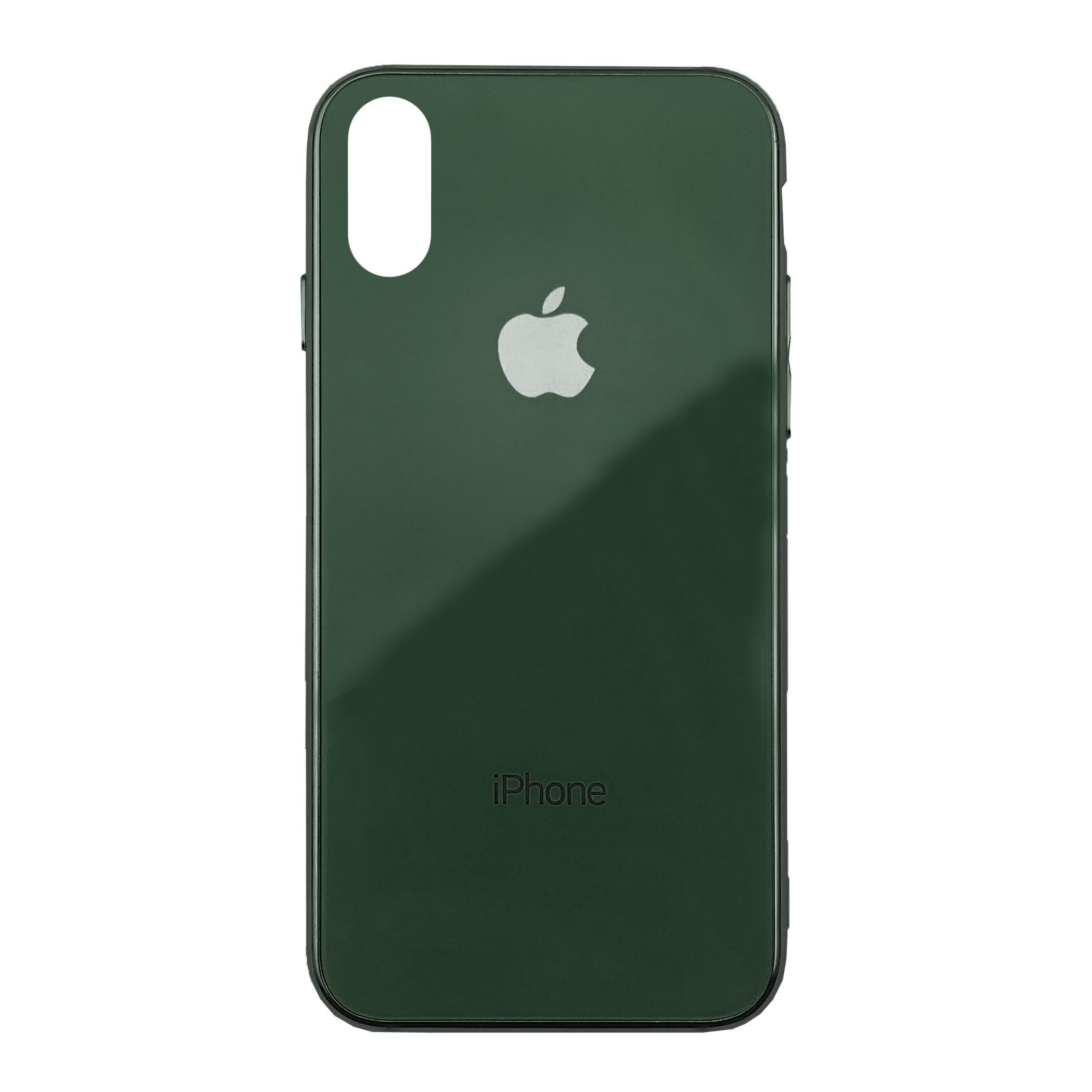 Чехол накладка xCase на iPhone XR Glass Case Logo Metallic forest green