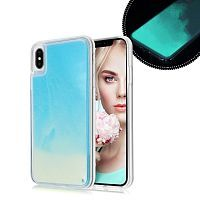 Чехол накладка xCase для iPhone XS Max Neon Case sky blue