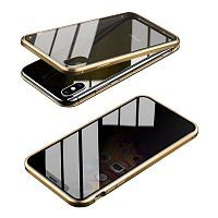 Чехол накладка xCase для iPhone XS Max Privacy Double-sided Magnetic Case transparent gold