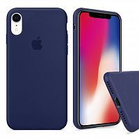 Чехол накладка xCase для iPhone XR Silicone Case Full темно синий