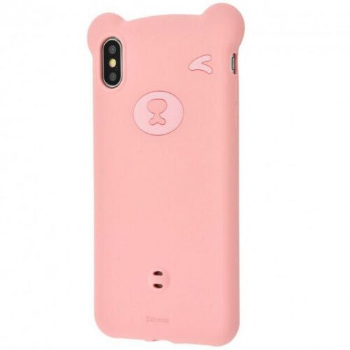 Чехол накладка Baseus для iPhone XS Max Bear Case pink