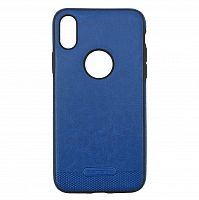Чехол накладка xCase для iPhone X/XS Leather Logo Case blue