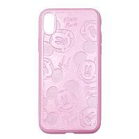 Чехол накладка xCase для iPhone X/XS Mickey Mouse Leather Pink