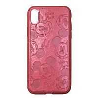 Чехол накладка xCase для iPhone X/XS Mickey Mouse Leather Red