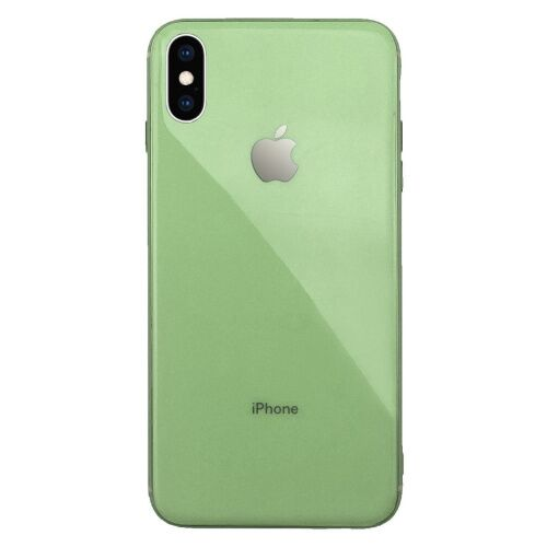 Чехол накладка xCase на iPhone XS Max Glass Silicone Case Logo mint gum - UkrApple