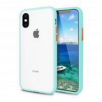 Чехол накладка xCase для iPhone XS Max Gingle series light blue orange