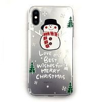 Чехол накладка xCase на iPhone X/XS New Year Crystal Snowman