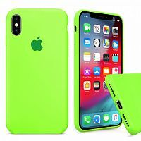 Чехол накладка xCase для iPhone X/XS Silicone Case Full party green