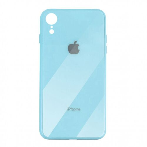 Чехол накладка xCase на iPhone XR Glass Case Logo sky blue - UkrApple