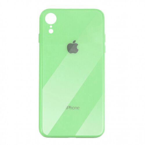 Чехол накладка xCase на iPhone XR Glass Case Logo green - UkrApple