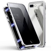 Чехол накладка xCase для iPhone 7 Plus/8 Plus Privacy Double-sided Magnetic Case transparent silver