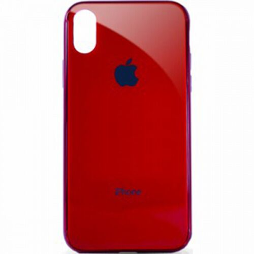 Чехол накладка xCase на iPhone XR Glass Case Logo Metallic red