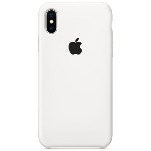 Чехол накладка xCase для iPhone XS Max Silicone Case белый c черным ябл. Фото 1