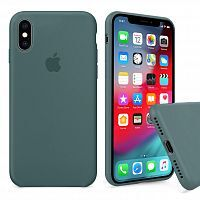 Чехол накладка xCase для iPhone X/XS Silicone Case Full pine green
