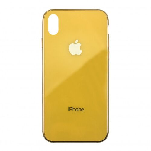 Чехол накладка xCase на iPhone XS Max Glass Case Logo Metallic yellow - UkrApple
