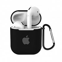 Чехол для AirPods/AirPods 2 silicone case with Apple Black