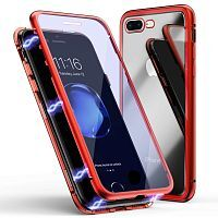 Чехол  накладка xCase для iPhone 7Plus/8Plus Double-sided Magnetic Case transparent red