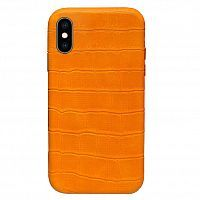Чехол накладка xCase для iPhone XS Max Leather Case Full Crocodile Orange