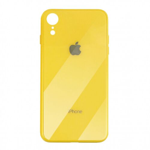 Чехол накладка xCase на iPhone XR Glass Case Logo yellow
