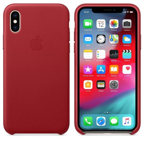 Чехол накладка на iPhone XS Max Leather Case red: фото 2 - UkrApple