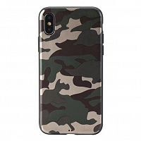 Чехол накладка xCase на iPhone XS Max Dark green Camouflage case