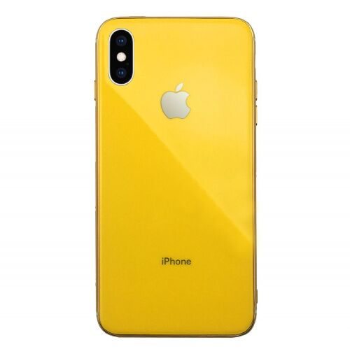 Чехол накладка xCase на iPhone X/XS Glass Silicone Case Logo yellow - UkrApple