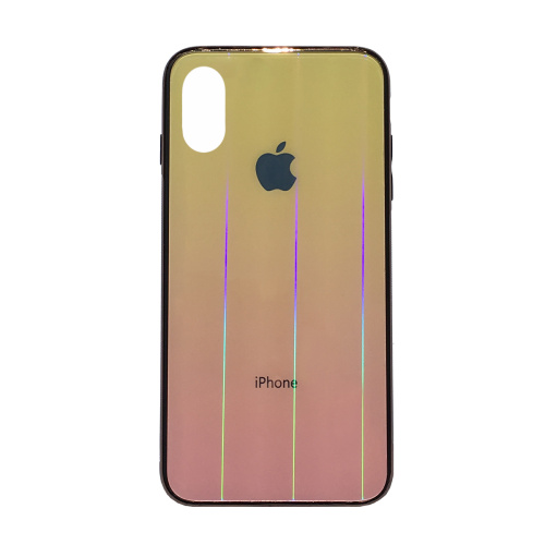 Чехол накладка xCase на iPhone XS Max Glass Shine Case Logo yellow - UkrApple