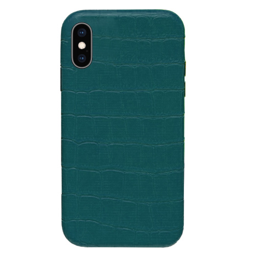 Чехол накладка xCase для iPhone XS Max Leather Case Full Crocodile Forest Green - UkrApple
